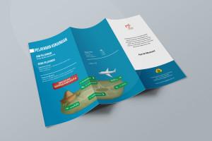 Desain Brosur Museum Ranggawarsita-Semarang-blue Tri Fold Brochure Mock-up 3